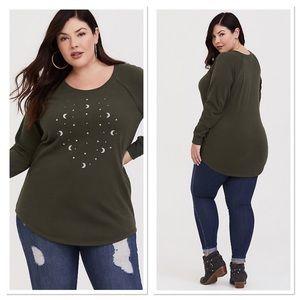 Torrid Olive Star & Moon Embellished Sweatshirt 1X
